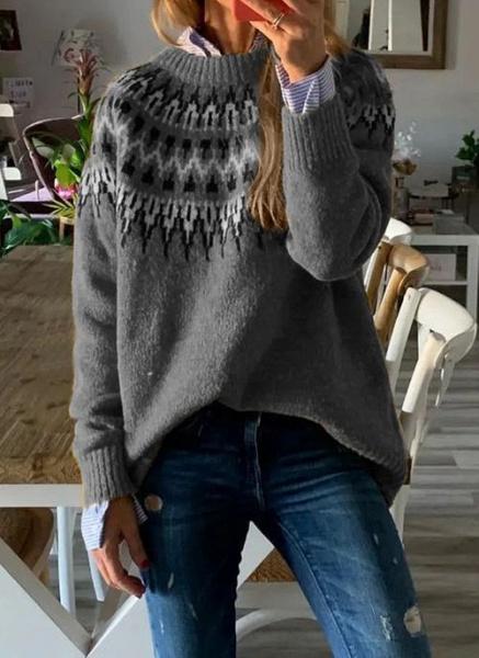 Round Neckline Geometric Vintage Loose Regular A-line Sweaters_3