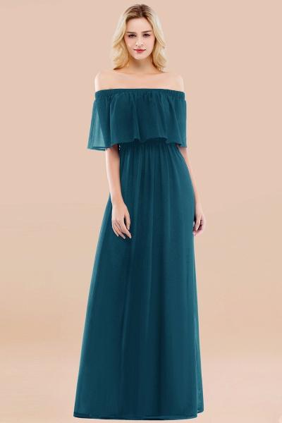 A-line Chiffon Off-the-Shoulder Short-Sleeves Ruffles Floor-length Bridesmaid Dress_27