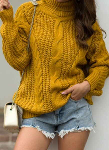 High Neckline Solid Casual Loose Regular Shift Sweaters_4