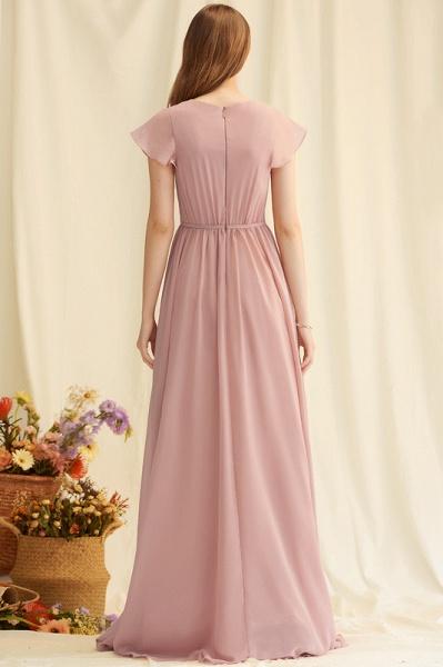 A-Line V-neck Floor-Length Chiffon Evening Dress With Split Front_4