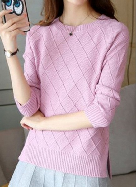 Round Neckline Solid Casual Loose Regular Shift Sweaters_8