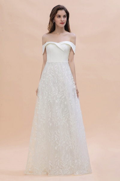 A-Line Off The Shoulder Lace Long Wedding Dress_2