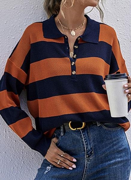 Collar Color Block Casual Loose Regular Buttons Sweaters_1