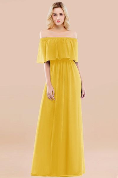 A-line Chiffon Off-the-Shoulder Short-Sleeves Ruffles Floor-length Bridesmaid Dress_17