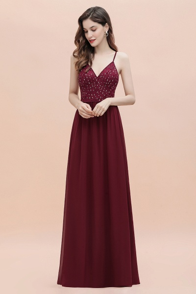 V-Neck Straps A-line Bridesmaid Dress Sequins Evening Dress_8