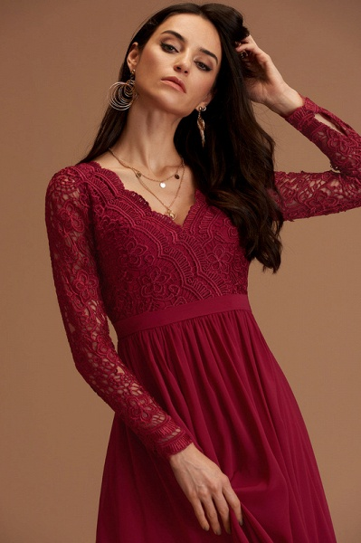 A-Line V-neck Floor-Length Chiffon Evening Dress With Lace_3