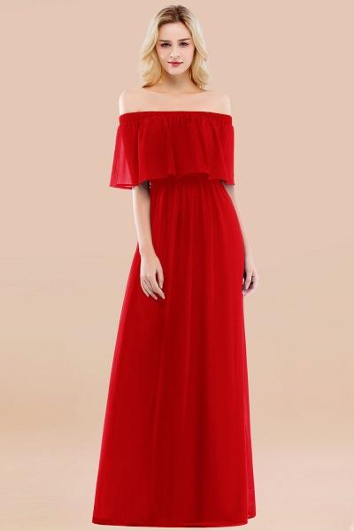 A-line Chiffon Off-the-Shoulder Short-Sleeves Ruffles Floor-length Bridesmaid Dress_8