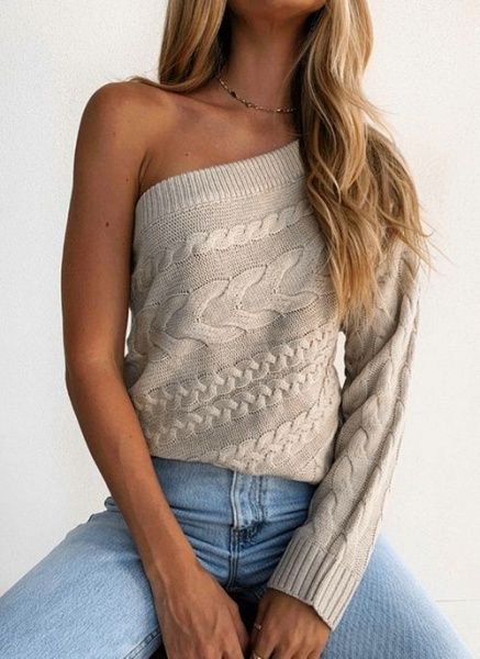 Oblique Neckline Solid Sexy Loose Regular Shift Sweaters