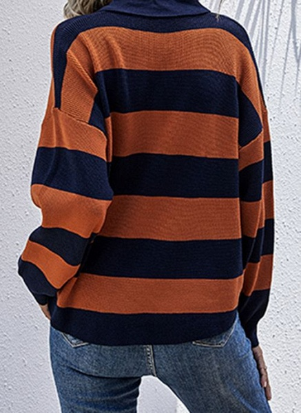 Collar Color Block Casual Loose Regular Buttons Sweaters_4