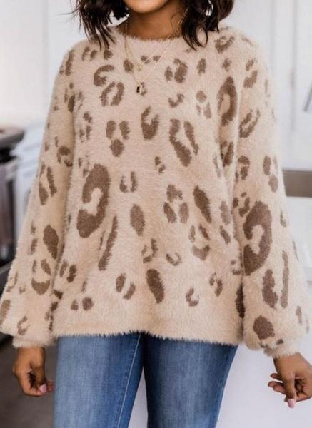 Round Neckline Leopard Casual Loose Regular Shift Sweaters_3