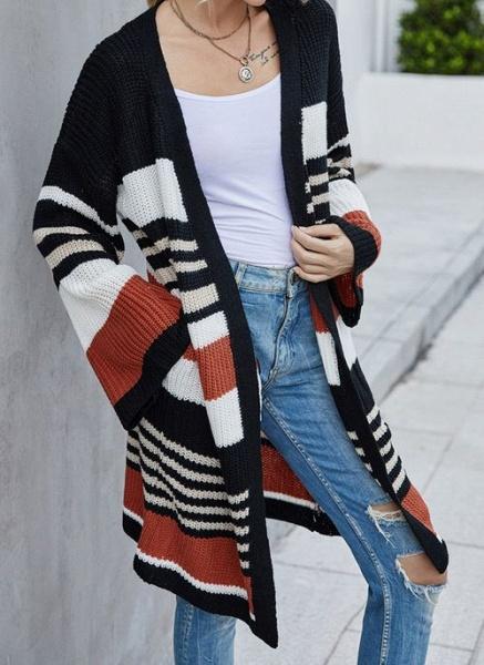 V-Neckline Color Block Casual Loose Long Pockets Sweaters_3