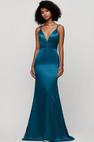 Trumpet/Mermaid V-neck Sweep Train silk like satin Evening Dress_2