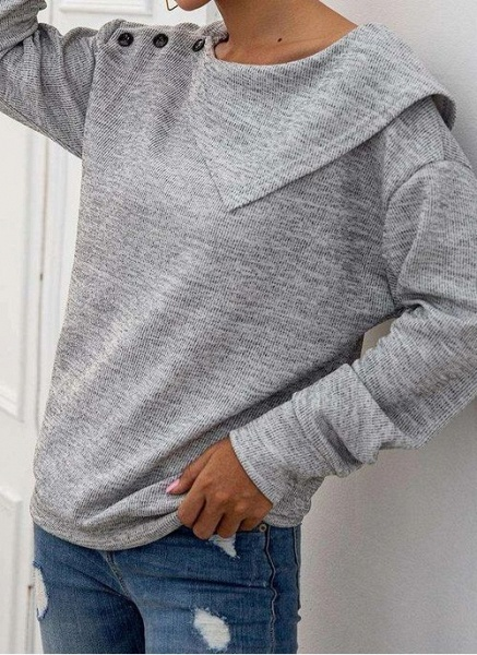 Round Neckline Solid Casual Loose Regular Buttons Sweaters_4