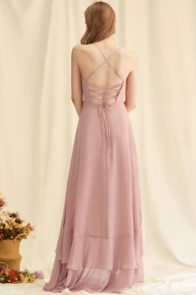 A-Line V-neck Asymmetrical Chiffon Evening Dress With Cascading Ruffles_5