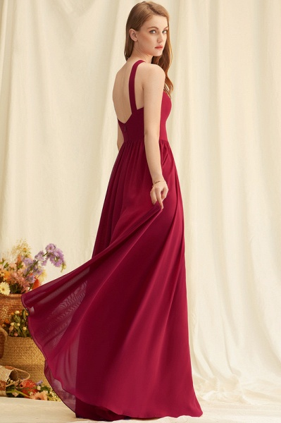 A-Line V-neck Floor-Length Chiffon Evening Dress_4