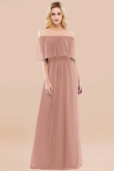 A-line Chiffon Off-the-Shoulder Short-Sleeves Ruffles Floor-length Bridesmaid Dress_6