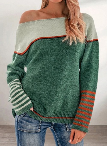 Boat Neckline Color Block Casual Loose Regular Shift Sweaters_4