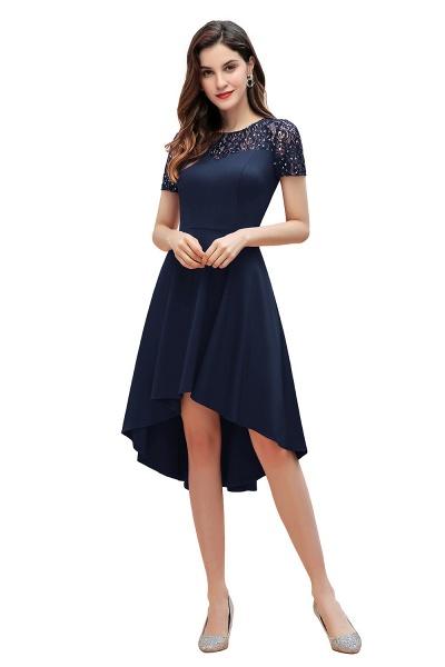 Short Sleeve Sequins Evening Hi-Lo Dress Tea Length Cocktail Dress_11