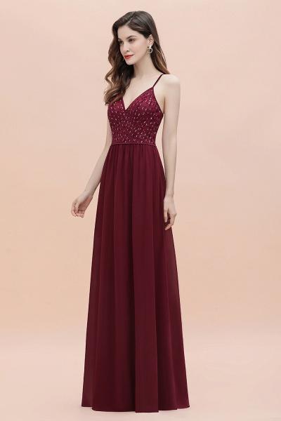 V-Neck Straps A-line Bridesmaid Dress Sequins Evening Dress_7