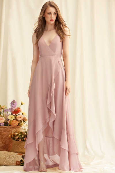 A-Line V-neck Asymmetrical Chiffon Evening Dress With Cascading Ruffles_2