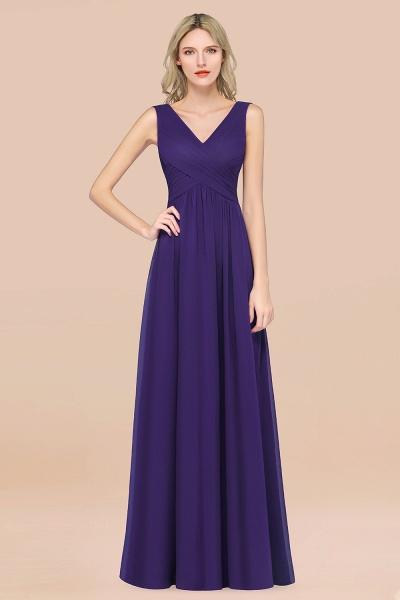 A-Line Chiffon Straps V-Neck Sleeveless Floor-Length Bridesmaid Dress with Ruffles_19