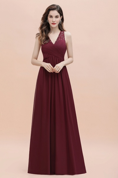 V-Neck A-line Chiffon Sleeveless Evening Maxi Dress_4