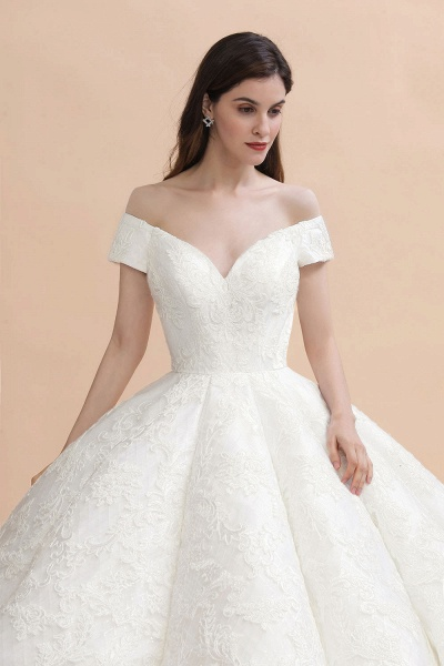 Graceful Off The Shoulder Lace Tulle Ball Gown Wedding Dress_2