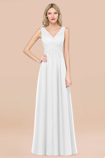 A-Line Chiffon Straps V-Neck Sleeveless Floor-Length Bridesmaid Dress with Ruffles_1