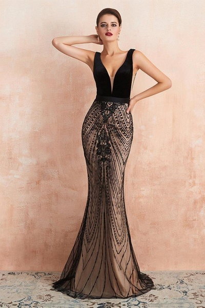 BM1991 Spaghetti Strap Sequins Mermaid Long Evening Dress