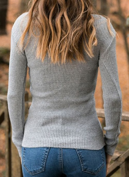 High Neckline Solid Casual Tight Regular Shift Sweaters_6
