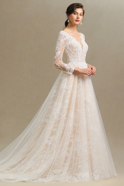 CPH230 Sheer Tulle Long Sleeve A-line Illusion Lace Wedding Dress_8