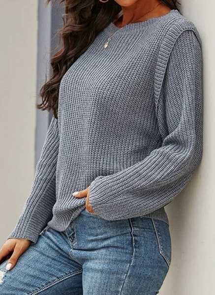 Round Neckline Solid Casual Loose Regular Shift Sweaters_3