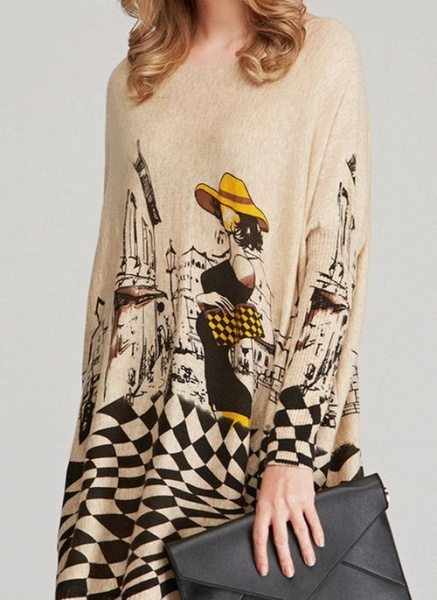 Round Neckline Color Block Casual Loose Long Shift Sweaters_6