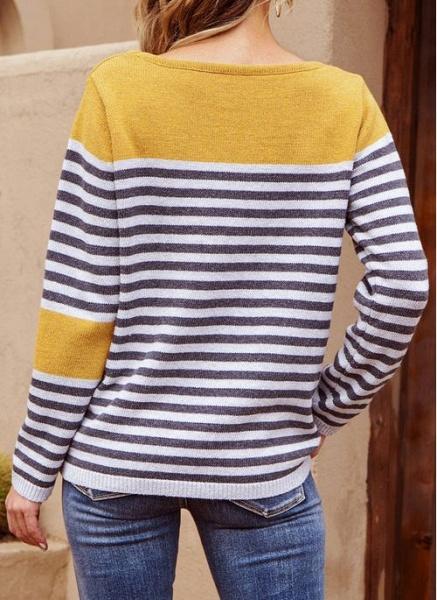 Boat Neckline Stripe Casual Loose Regular Shift Sweaters_5