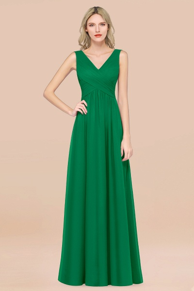 A-Line Chiffon Straps V-Neck Sleeveless Floor-Length Bridesmaid Dress with Ruffles_32