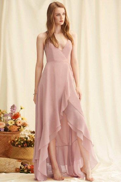 A-Line V-neck Asymmetrical Chiffon Evening Dress With Cascading Ruffles_4