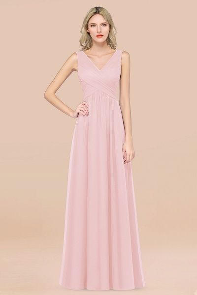 A-Line Chiffon Straps V-Neck Sleeveless Floor-Length Bridesmaid Dress with Ruffles_3