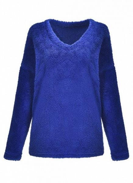 V-Neckline Solid Casual Loose Regular Shift Sweaters_6