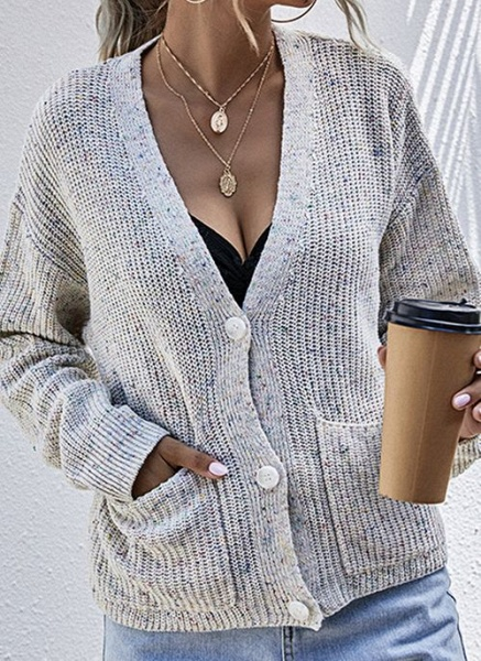 V-Neckline Color Block Casual Loose Regular Pockets Buttons Sweaters_1