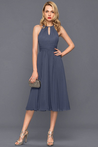 Scoop Neck A-Line Knee-Length Chiffon Cocktail Dress With Ruffle_3