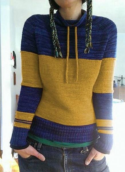 Round Neckline Color Block Casual Loose Shift Sweaters_3
