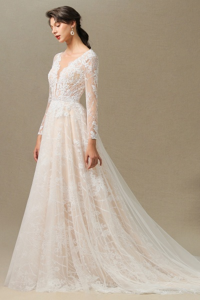 CPH230 Sheer Tulle Long Sleeve A-line Illusion Lace Wedding Dress_11