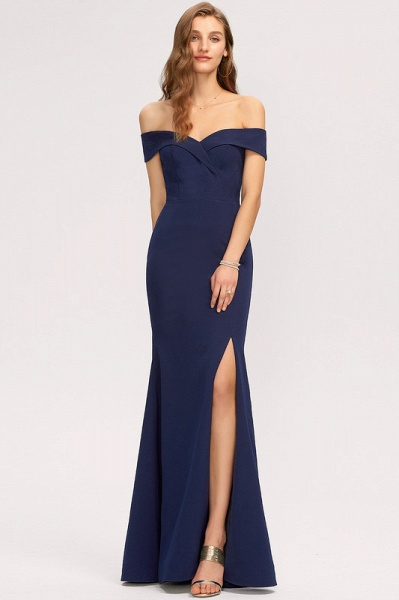Trumpet/Mermaid Off-the-Shoulder Floor-Length Stretch Crepe Evening Dress With Split Front_1