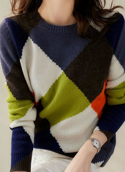 Round Neckline Color Block Casual Loose Regular Shift Sweaters_4