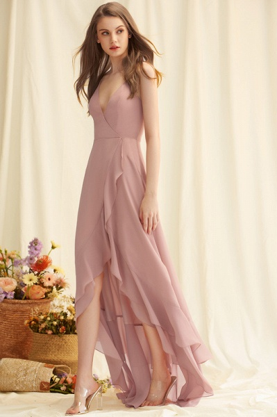 A-Line V-neck Asymmetrical Chiffon Evening Dress With Cascading Ruffles_1