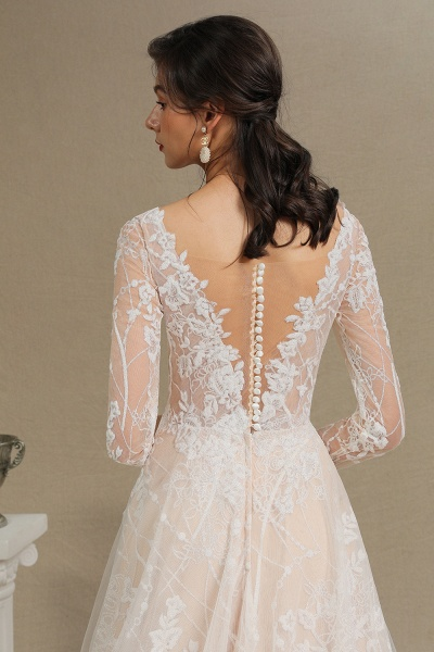 CPH230 Sheer Tulle Long Sleeve A-line Illusion Lace Wedding Dress_13