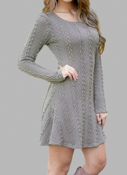 Round Neckline Solid Casual Loose Regular X-line Sweaters_5