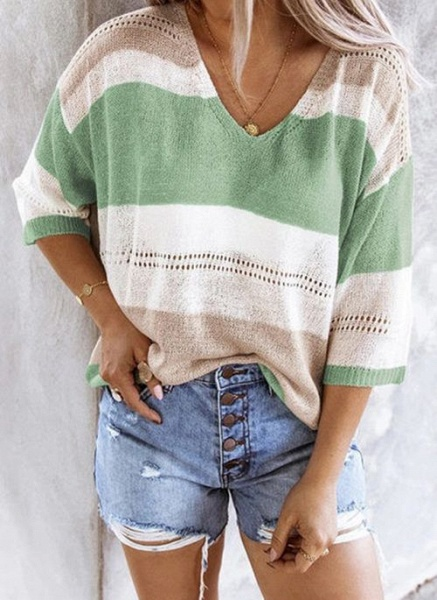 V-Neckline Color Block Casual Loose Regular Shift Sweaters_3