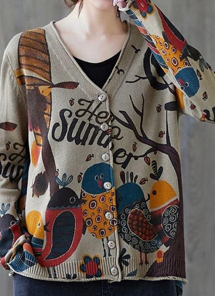 V-Neckline Color Block Casual Loose Regular Buttons Sweaters_2