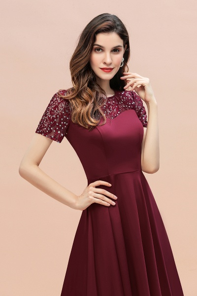 Short Sleeve Sequins Evening Hi-Lo Dress Tea Length Cocktail Dress_13